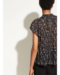 Vince - Black Brushstroke Flutter Sleeve Top - Lyst