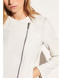 Vince - White Cross Front Leather Jacket - Lyst