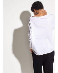 Vince - White Pima Cotton Mock Neck Top - Lyst