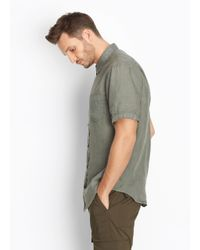 Vince - Green Linen Short Sleeve Button Up for Men - Lyst