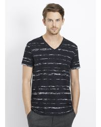 Vince - Black Slub Cotton Shadow Stripe V-neck Tee for Men - Lyst