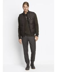 VINCE | Brown Leather Down-filled Vest for Men | Lyst