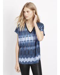 Vince | Blue Tie Dye Stripe V-neck Cocoon Tee | Lyst