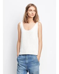 VINCE | White Lattice Stitch Tank | Lyst