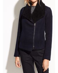 Vince - Blue Shearling And Double-face Wool Jacket - Lyst