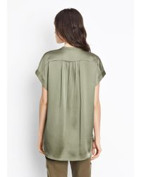 Vince - Green Shirred Neck Pullover - Lyst