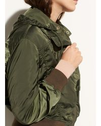 Vince - Green Hooded Gathered Shell Bomber - Lyst