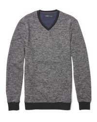 Vince Camuto - Black Marled V-neck Sweater for Men - Lyst