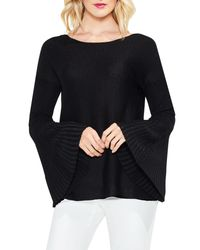 Vince Camuto - Black Rib-knit Flare-sleeve Sweater - Lyst