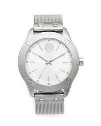 Vince Camuto   Metallic Silvertone Nailhead-detailed Mesh Bracelet Watch for Men   Lyst