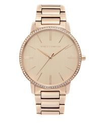 Vince Camuto | Metallic Crystal-bezel Link Watch | Lyst
