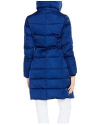 Vince Camuto - Blue Hooded Channel-quilted Coat - Lyst