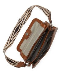 Vince Camuto - Brown Lyssa – Embroidered-strap Flap Bag - Lyst