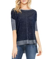 Vince Camuto - Blue Two By Two-tone Elbow-sleeve Sweater - Lyst