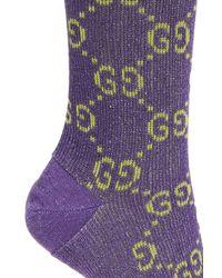 Gucci - Purple Lurex Socks - Lyst