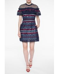 Self-Portrait - Blue Openwork Dress - Lyst