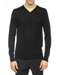 AllSaints - Black Logo-embroidered Sweater for Men - Lyst