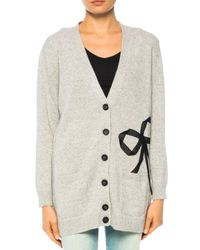 RED Valentino - Gray Cardigan With Bow - Lyst