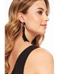Wallis - Black Drop Earring - Lyst