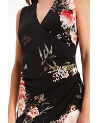 Wallis | Black Oriental Floral Wrap Dress | Lyst