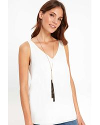 Wallis - Gold Skinny Black Tassel Lariat Necklace - Lyst