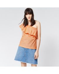 bded0d28a913a1 Warehouse Ruffle One Shoulder Top in Orange - Lyst