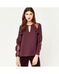 ed997e84efcd9b Warehouse Ruffle Lace Mix Top in Purple - Lyst