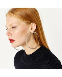 Warehouse - Multicolor Clear Stone Large Hoop - Lyst