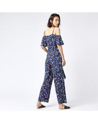 Warehouse - Blue Mae Floral Frill Jumpsuit - Lyst