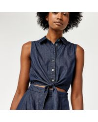 Warehouse - Blue Cut Out Tie Front Midi Dress - Lyst