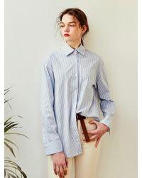 YAN13 - Rose Classic Stripe Shirt Sky Blue - Lyst