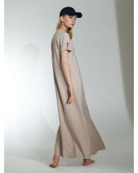 JACOON - Natural Short Sleeve Long Dress Beige - Lyst