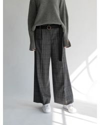 AEER - Glen Check Wide Wool Cashmere Pants Gray - Lyst