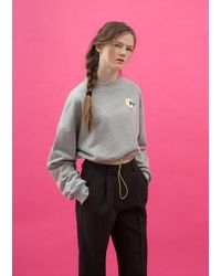 ANOTHER A - Gray Boxy String Crop Sweatshirt Grey - Lyst
