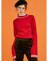 ANOTHER A - Red Pleats Sleeved Knit Top (2colors) - Lyst