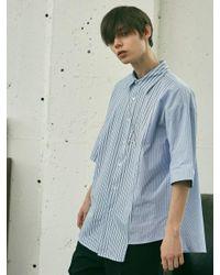 Add - Unbalance Stripe Lettering Shirts Blue for Men - Lyst