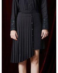 W Concept - Black Unbalance Pleats Skirt - Lyst