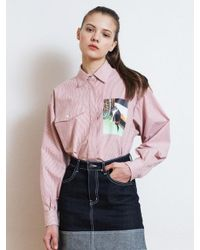 W Concept - Lonely Cat Picture Printing Shirt Red - Lyst