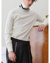 MUNN - Multicolor White Knit Turtleneck Sweater for Men - Lyst