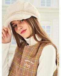 W Concept - Brown [unisex] Lo Faux Fur Beret Ivory - Lyst