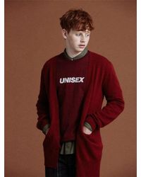 NOHANT - [unisex]unbalanced Knit Cardigan Red for Men - Lyst