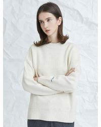 MILLOGREM - White Embroideried Cuffs Sweater Ivory - Lyst