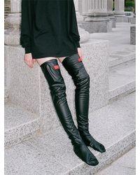CLUT STUDIO 0 8 Leather Over Knee Socks - Black