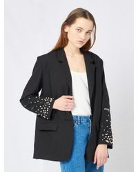 W Concept | Black Pearl Studded Sleeve Jacket | Lyst