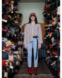 W Concept - Neck-tie Striped Shirt_red - Lyst