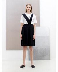 W Concept - Blue Suspender Pleats Skirt_navy - Lyst