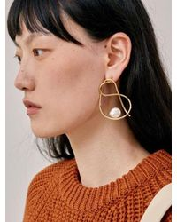Low Classic - Metallic 17fw Line Pearl Earring - Gold - Lyst