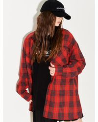 W Concept - [unisex]red Velvet Check Shirt Red - Lyst