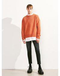 VOIEBIT - Orange [unisex] V521 Side Button Round Wool Knit for Men - Lyst