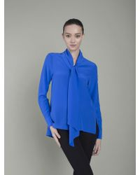 VAUGHAN | The Cassie Pussy Bow Blouse - True Blue | Lyst